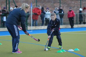 Olympic Hockey star Georgie Twigg Coaches Bilton Grange Pupil